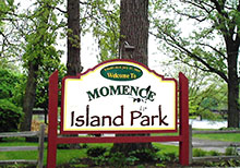 Island Park welcome sign